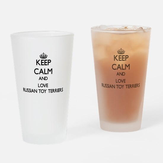 Keep calm and love Russian Toy Terr Drinking Glass