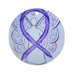 Violet Ribbon Angel Ornament (Round)
