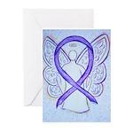 Violet Ribbon Angel Greeting Cards