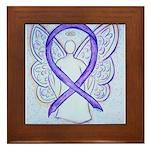Violet Ribbon Angel Framed Tile