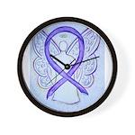 Violet Ribbon Angel Wall Clock