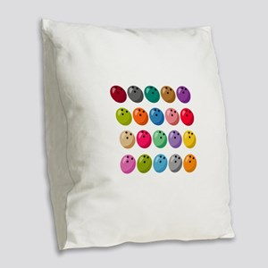 Many Bowling Balls Burlap Throw Pillow