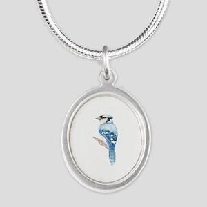 Watercolor Blue Jay Bird Nature Art Necklaces
