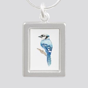 Watercolor Blue Jay Bird Nature Art Necklaces