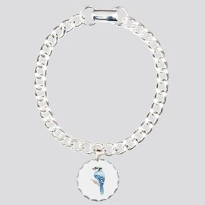 Watercolor Blue Jay Bird Nature Art Charm Bracelet
