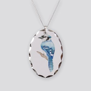 Watercolor Blue Jay Bird Necklace Oval Charm