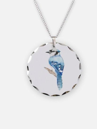 Watercolor Blue Jay Bird Necklace