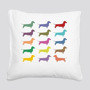 Colorful Dachshunds Square Canvas Pillow