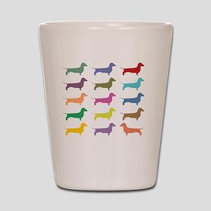 Colorful Dachshunds Shot Glass