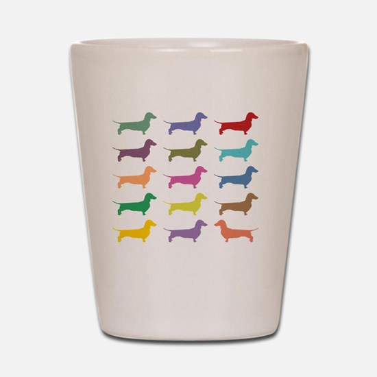 Colorful Dachshunds Shot Glass