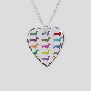 Colorful Dachshunds Necklace Heart Charm
