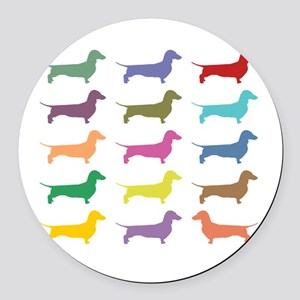 Colorful Dachshunds Round Car Magnet