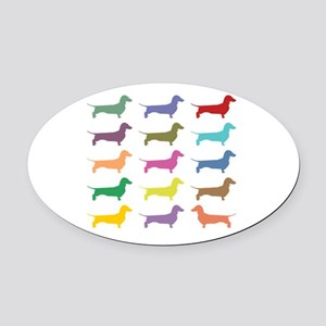 Colorful Dachshunds Oval Car Magnet