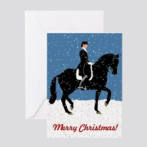 Snowy Dressage Horse Christmas Greeting Cards