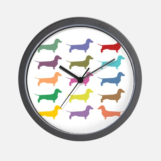 Colorful Dachshunds Wall Clock