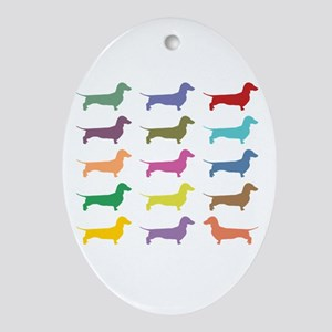 Colorful Dachshunds Ornament (Oval)