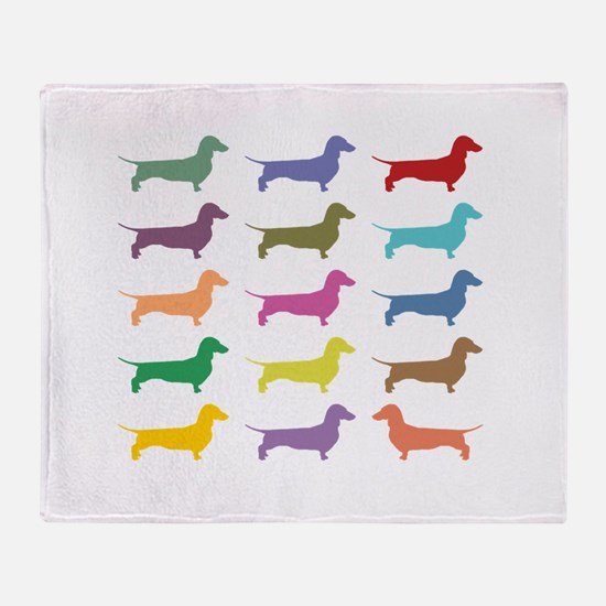 Colorful Dachshunds Throw Blanket