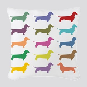 Colorful Dachshunds Woven Throw Pillow