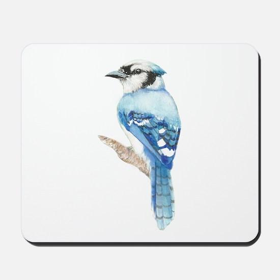 Watercolor Blue Jay Bird Nature Art Mousepad