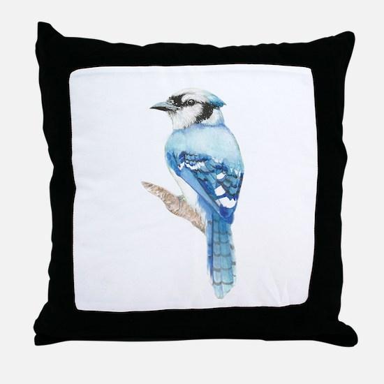 Watercolor Blue Jay Bird Nature Art Throw Pillow