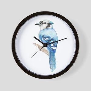 Watercolor Blue Jay Bird Nature Art Wall Clock