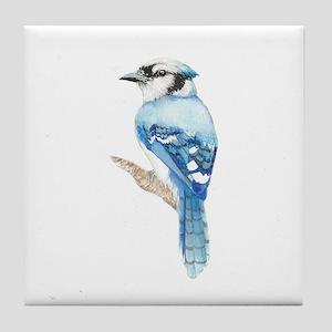 Watercolor Blue Jay Bird Nature Art Tile Coaster
