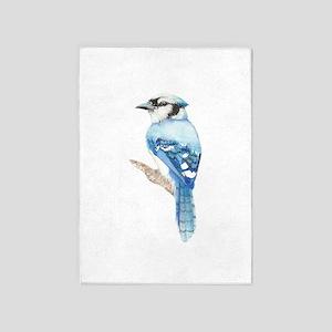 Watercolor Blue Jay Bird Nature Art 5'x7'area Rug