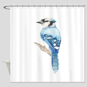 Watercolor Blue Jay Bird Nature Art Shower Curtain