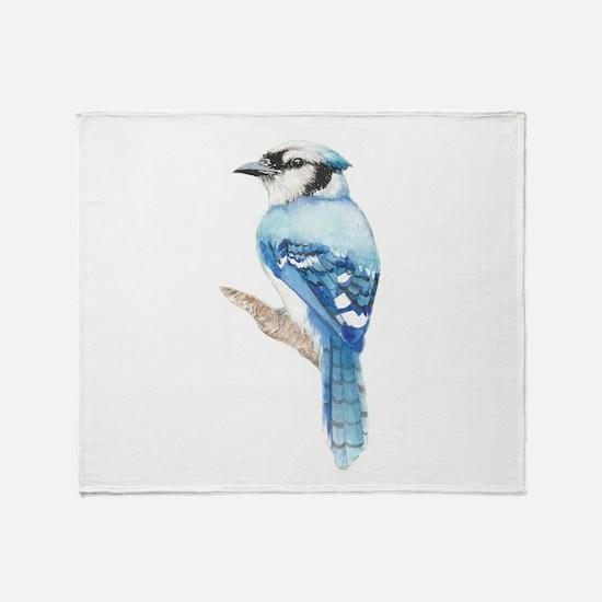 Watercolor Blue Jay Bird Nature Art Throw Blanket