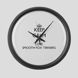 Keep calm and love Smooth Fox Ter Large Wall Clock