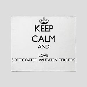 Keep calm and love Soft-Coated Wheat Throw Blanket