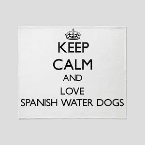 Keep calm and love Spanish Water Dog Throw Blanket