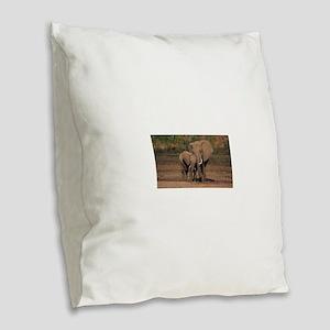 elephants Burlap Throw Pillow
