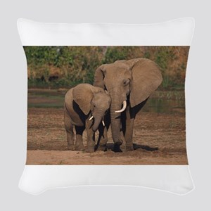 elephants Woven Throw Pillow