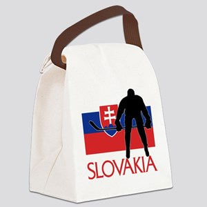 Slovakia Flag Hockey Canvas Lunch Bag