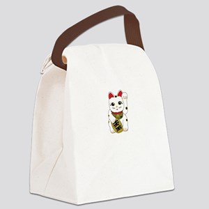 Tri-color Maneki Neko Canvas Lunch Bag
