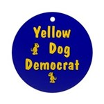 Yellow Dog Democrat Round Ornament