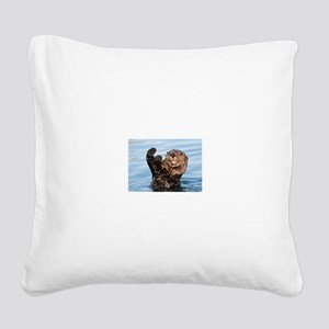 otter Square Canvas Pillow
