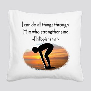 SWIMMER BLESSING Square Canvas Pillow