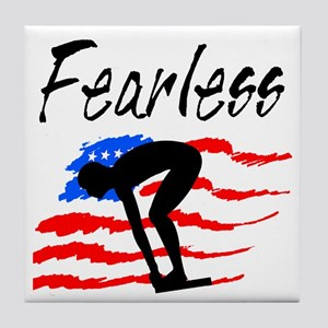 FEARLESS SWIMMER Tile Coaster