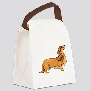 Longhaired Dachshund Canvas Lunch Bag