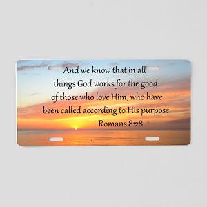ROMANS 8:28 Aluminum License Plate