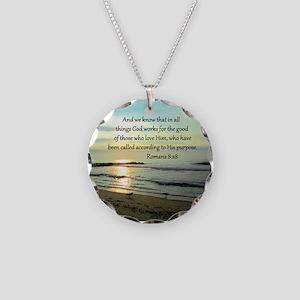 ROMANS 8:28 Necklace Circle Charm