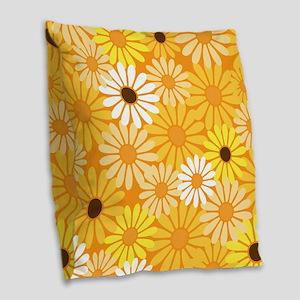 Vintage Daisy Flowers Burlap Throw Pillow