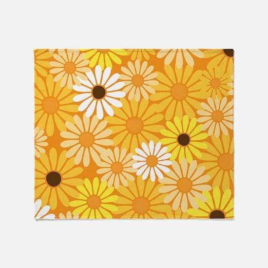 Vintage Daisy Flowers Throw Blanket