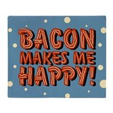 Bacon makes me happy Fleece Blankets