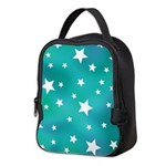 Turquoise Blue and White Stars Neoprene Lunch Bag