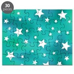 Turquoise Blue and White Stars Puzzle