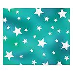 Turquoise Blue and White Stars King Duvet