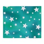 Turquoise Blue and White Stars Throw Blanket